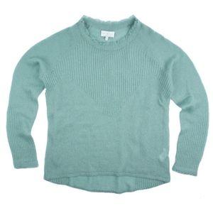 LUCKY BRAND Aqua Fringe Trim Crewneck Sweater